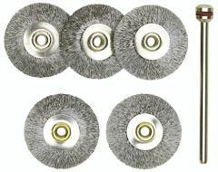 Proxxon - 28952 Steel wire wheel brushes, 22 mm diameter, 5 pcs.