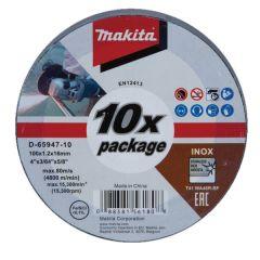 Makita - Metal Cut off Wheel 100mmx 1.0x16mm (Pkt of 10Pcs) - D-65947