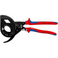 KNIPEX 95 32 320 Cable Cutter (ratchet principle, 3-stage) with multi-component grips black atramentized 320 mm